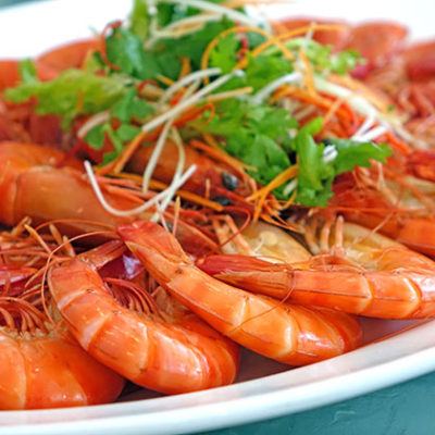 Steamed shrimp on the menu
